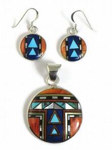 Sterling Silver Zuni Sun Face Inlay Pendant & Earring Set by Delbert Yallestewa, Zuni Indian