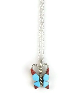 Turquoise & Coral Small Zuni Inlay Butterly Pendant