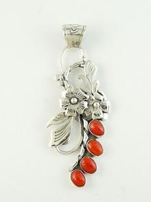 Sterling Silver Mediterranean Coral Pendant by Southwest Artist Les Baker (PD2765C)