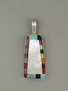 Multi Gemstone Inlay Pendant by Ronald Chavez, Santo Domingo