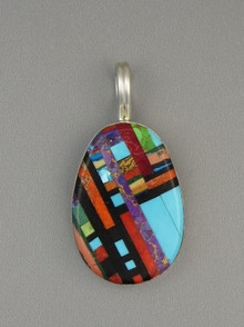 Multi Gemstone Mosaic Inlay Pendant by Ronald Chavez, Santo Domingo