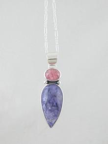 Sterling Silver Charoite & Rhodocrosite Pendant (PD2862)