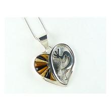 Tiger Eye & Jasper Heart Pendant with Kokopelli