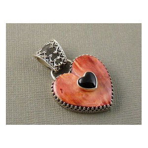 Spiny Oyster Shell & Onyx Heart Pendant