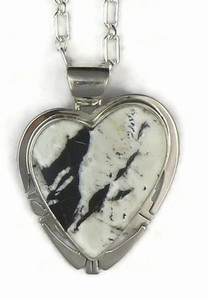 Sterling Silver White Buffalo Heart Pendant by Phillip Sanchez, San Felipe (PD3535)
