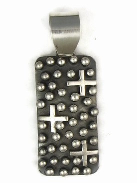 Sterling Silver Cross Pendant by Ronnie Willie, Navajo (PD3553-S)