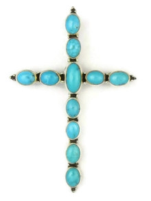 Kingman Turquoise Cross Pin & Pendant