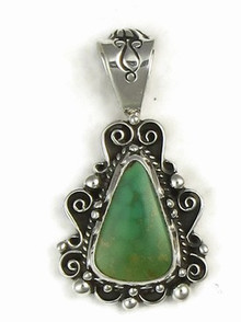 Sterling Silver Green Royston Turquoise Pendant by Lex Billie, Navajo