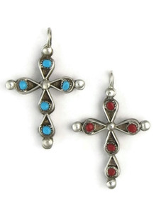 Reversible Zuni Coral & Turquoise Cross Pendant by Raylivia Lastyano
