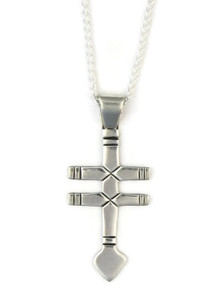 Double Bar Silver Cross Pendant with Adjustable Length Chain (PD3570)