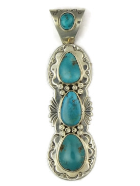 Long Kingman Turquoise Pendant by Tim Guerro