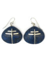 Lapis Inlay Silver Cross Shell Earring Pendant Set by Ronald Chavez, Santo Domingo