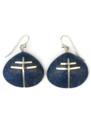 Lapis Inlay Silver Cross Shell Earring Pendant Set by Ronald Chavez, Santo Domingo