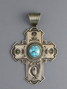 Webbed Kingman Turquoise Cross Pendant by Albert Jake (PD3685)