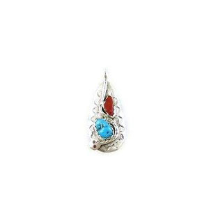 Effie Calavaza Silver Turquoise & Coral Pendant (PD3782)