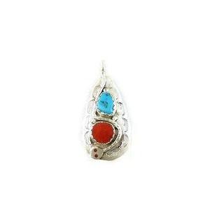 Effie Calavaza Silver Turquoise & Coral Pendant (PD3785)