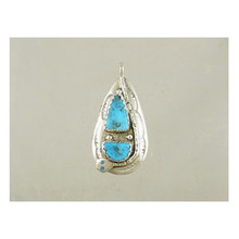 Effie Calavaza Silver Turquoise Pendant (PD3786)