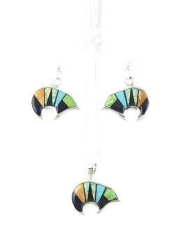 Multi Gemstone Inlay Bear Pendant & Earring Set