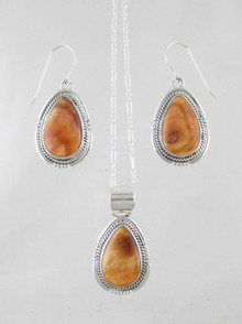 Sterling Silver Spiny Oyster Shell Pendant & Earring Set