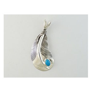 Sterling Silver Turquoise Feather Pendant by Lena Platero, Navajo