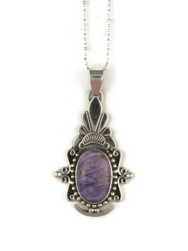 Sterling Silver Charoite Pendant by Fritson Toledo, Navajo