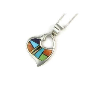 Multi Gemstone Inlay Heart Pendant
