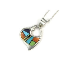 Multi Gemstone Inlay Heart Pendant