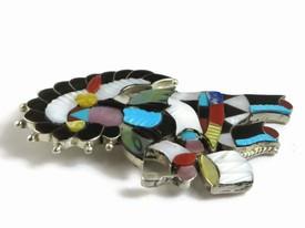 Silver Multi Gemstone Inlay Zuni Indian Dancer Pendant & Pin by Jonathan Beyuka