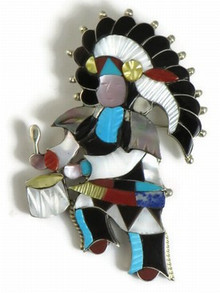 Silver Multi Gemstone Inlay Zuni Indian Dancer Pendant & Pin by Jonathan Beyuka