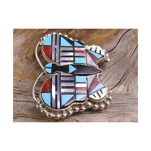 Intricate Zuni Inlay Butterfly Pendant and Pin