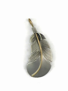 12k Gold & Sterling Silver Feather Pendant by Lena Platero, Navajo (PD5003)