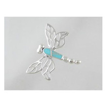 Sleeping Beauty Turquoise Inlay Dragonfly Pin (PN0122)
