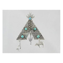 Sterling Silver & Turquoise Tee Pee Pin