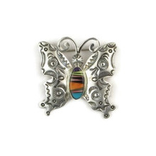 Multi Gemstone Inlay Butterfly Pin by Jane Defauto, Navajo