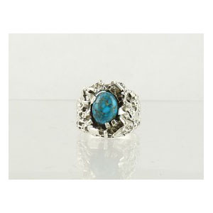 Natural Lone Mountain Turquoise Ring Size 11 1/4