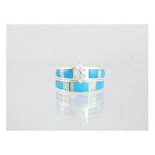 Turquoise & Opal Inlay Wedding Band Ring Set with Marquis CZ Size 8