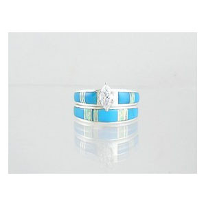 Turquoise & Opal Inlay Wedding Band Ring Set with Marquis CZ Size 9
