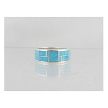 Sleeping Beauty Turquoise Inlay Ring Size 10 1/4