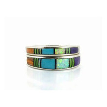 Multi Gemstone Inlay Stack Ring Size 6