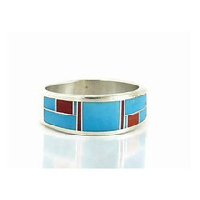 Turquoise & Coral Inlay Ring Size 11 1/2