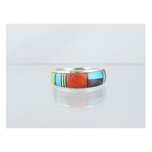 Multi Gemstone Inlay Band Ring Size 8 1/2