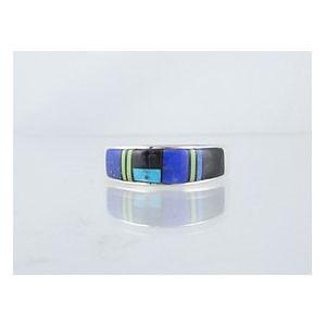 Multi Gemstone Inlay Ring Size 7 (RG0642E)
