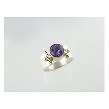 14k Gold & Silver Amethyst Ring Size 6 (RG0700)