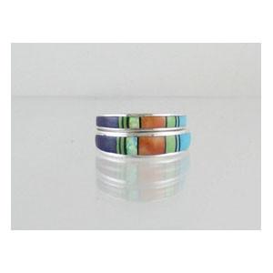 Multi Gemstone Inlay Band Ring Set Size 6
