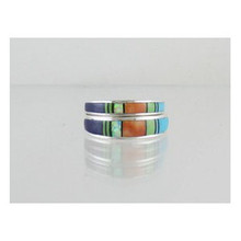 Multi Gemstone Inlay Band Ring Set Size 6
