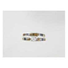 Tiger Eye, Jet & Jasper Inlay Band Ring Set with CZ Size 9