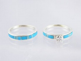 Sleeping Beauty Turquoise Inlay Wedding Band Ring Set with CZ Size 6