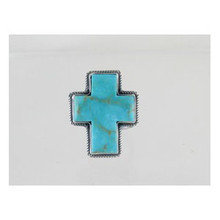 Sterling Silver Turquoise Cross Ring Size 8/9/10 - Adjustable