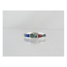 Sterling Silver Turquoise & Gemstone Inlay Ring Size 10