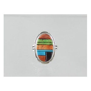 Multi Gemstone Sculpted Inlay Ring Size 8 (RG0866)